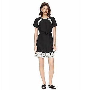 KATE SPADE Black Satin Crepe Lace Trim Dress SZ 8